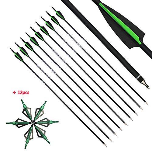 MILAEM 12Pcs 30 Zoll Carbon Pfeile für Bogenschießen Jagd Spine 500 Jagdpfeil Zielpfeile für Recurvebogen Compoundbogen Outdoor Schießen (Grün + 12pcs Broadhead)