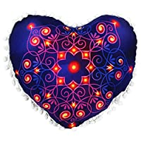 Viahwyt New Home Gift 2 Size Heart-shaped Indian Pouf Mandala Meditation Cushion Cover Bohemian Floor Throw Pillow Cases Room Sofa Decor New Home Gifts For Couple (HH, 43x35)