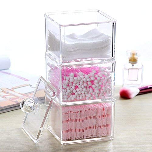 lic Cotton Ball & Swab Holder Organizer, Cosmetic Organizer Makeup Storage Organizer for Cotton Swabs, Q-Tips, Make Up Pads, Cosmetics, Jewelry & More ()