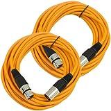 Seismic Audio Pair Of Orange 25' XLR Male To Female Microphone Patch Cables Orange - SAXLX-25Orange-2Pack