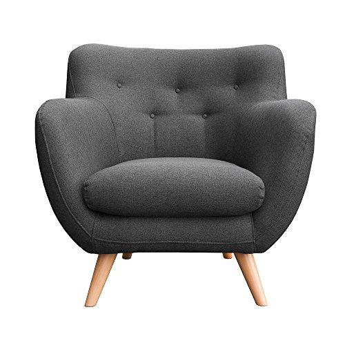 myHomery Sessel Adele gepolstert - Polsterstuhl für Esszimmer & Wohnzimmer - Lounge Sessel mit Armlehnen - Eleganter Retro Stuhl aus Stoff mit Holz Füßen - Anthrazit | Sessel