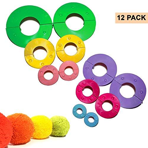 Curtzy 12-TLG Pom Pom Maker Set mit Verschiedenen Größen 9, 7, 5.5, 4.5, 3.5, 2.5cm Bommel Maker - DIY Plüschige Pom Poms für Dekorationen, Girlanden, Charms und Mehr - Einfach zu Verwenden