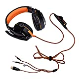 FeaturesIt is a primary kind of gaming headset, which brings you vivid sound effects, capable of various games, even HIFI music.Its super soft over-ear pads, high grade sponge with skin-friendly leather material, more comfortable for long time wear, ...