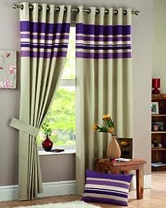 "One pair of Harvard Eyelet header Curtains in Aubergine, Size: 90x54"" (229 x 137 cm) width x drop"