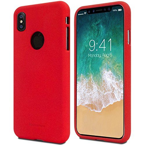 iPhone X Hülle ,GOOSfürY® [Thin Slim] GOOSfürY [Flexible] Pearl Glitter Soft feeling Jelly [fürfect Fit] Rubber TPU Case [Lightweight] Bumfür Cover [Impact Resistant] für Apple iPhone X rosso