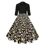 KPILP Frauen Vintage 1950er Abendkleider 3/4 Ärmel O Hals Abenddruck Faltenrock Party Prom Petticoat Schaukel Rockabilly Kleid Minikleid(Gelb,EU-38/CN-M