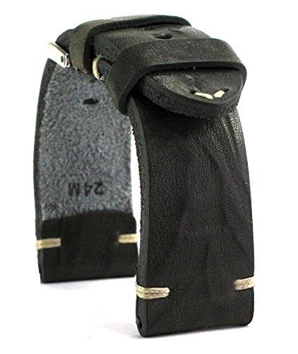 RIOS 1931 24mm Herren Leder Uhrenarmband Vintage grau (Herren-leder-uhrenarmband 24mm)
