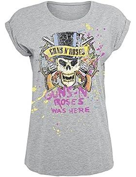 Guns N Roses Top Hat Splatter Camiseta Mujer Gris/Melé