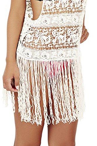 Boutique pistazie Damen Swirl Crochet Cami Top Damen Fransen Strandkleid/Tunika Cremefarben