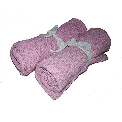 Babe-equip Lot de 2 couvertures de bébé en tricot 100 % coton Rose 70 x 90 cm