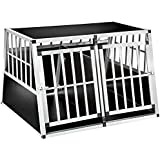 TecTake XXL Cage box caisse de transport aluminium en forme de trapèze avec cloison de séparation (lxPxH): 104 x 91 x 69,4 cm