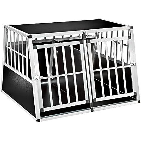 TecTake XXL Doppio box per cani con divisor trasportino animali trapezoidale alluminio (lungh. x largh. x h): 104 x 91 x 69,4 cm