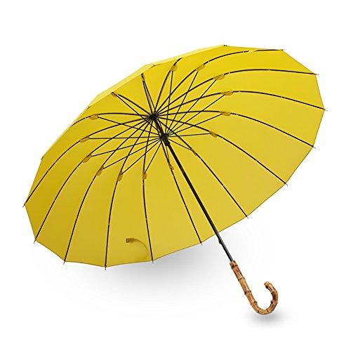 ZJM-umbrella Kreative Langen Griff Regenschirm Bambus Griff Retro 16 Rippen Partysu Stil (Farbe : Matcha Green)