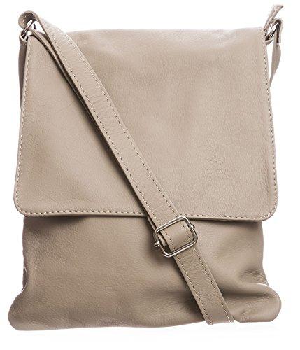 BHBS Damen Cross-Body-Tasche Mit Echtem Weichem Leder 23 x 26 cm (B x H) Leichte Taupe (BH413)