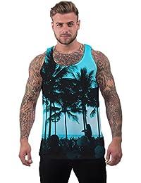 Blue Sleeveless Beach Party Ibiza Holiday Festival Rave Summer Holiday Mens Vest XL