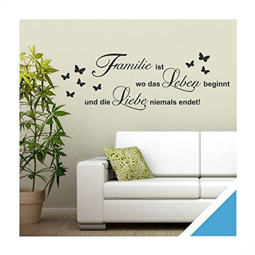 Exklusivpro Wandtattoo Spruch Worte Familie ist Leben Liebe inkl. Rakel (zit46 lichtblau) 120 x 41 cm mit Farb- u. Größenauswahl