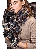 YISEVEN Damen Elegant Lammfelll Lederhandschuhe Kaninchenfell Touchscreen mit Warm Gefüttert Elegant Winter Leder Autofahrer Handschuhe, Schwarz 6.5/S