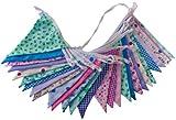 Flyingstart Guirlande fanions double face en tissu Motif floral 10m, Tissu, multicolore, 1 pièce