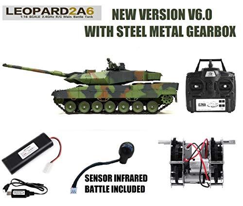 MODELTRONIC Tanque Radio Control alemán Leopard 2A6 Escala 1/16 Heng Long versión V6.0, Transmisiones de Acero, con batería Litio, emisora 2.4G V6.0, con Sonido, Airsoft, Humo 3889-1