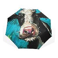Umbrella Cow Painting 3 Folds Anti-UV Windproof Lightweight