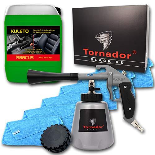 ABACUS 7425 TORNADOR Black Z-020RS (Modell 2019) - Kunststoff- & Lederreinigungs-Set mit 5 Liter Kanister KULETO & Mikrofasertüchern, gebrauchsfertig