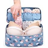 RiWEXA Multifunctional Bra Underwear Organizer Slide Portable Cosmetic Makeup Lingerie Toiletry Travel Bag With...