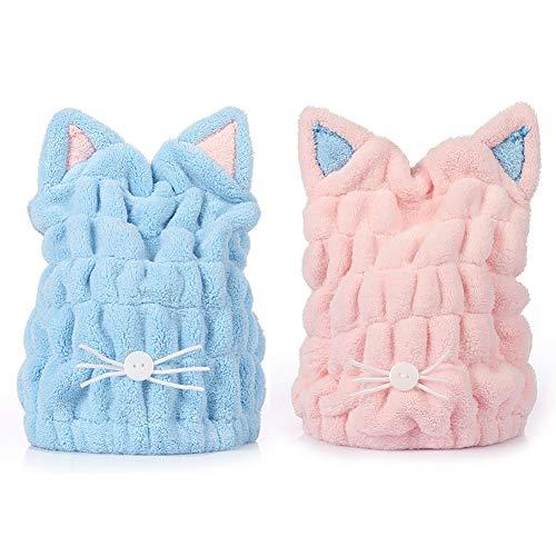 Badetücher Trockene Haarhaube, süße Katzenohren super saugfähig weiches Haar Trocknen Handtücher Kopfwickel Hut Bad Spa Schwimmen Turban, 2 Stück Pink & Blau