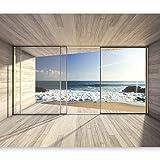 murando - Fototapete Meer Fenster 400x280 cm - Vlies Tapete - Moderne Wanddeko - Design Tapete - Wandtapete - Wand Dekoration - Meer See Natur Landschaft Fenster 3D Holz c-A-0084-a-b