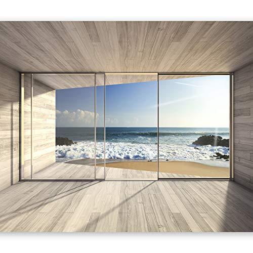 fototapete fenster zum meer murando - Fototapete Meer Fenster 400x280 cm - Vlies Tapete - Moderne Wanddeko - Design Tapete - Wandtapete - Wand Dekoration - Meer See Natur Landschaft Fenster 3D Holz c-A-0084-a-b