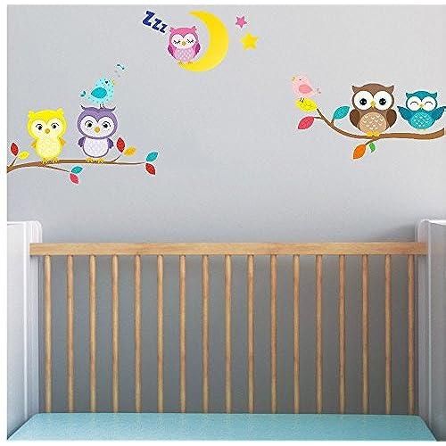 Baby Owl On Branch With Moon And Birds Wall Stickers 5x Cute Owl Nursery  Decor Boys Girls Bedroom Wall Art Decor