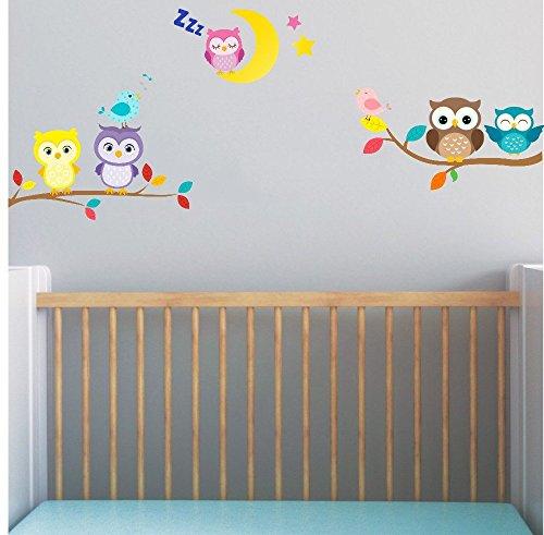 Bébé Chouette sur branche avec lune et Stickers muraux oiseaux 5 x Hibou mignon Chambre Decor garçons filles Chambre Décoration Mur Art