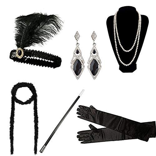 Dreshow 1920s flapper gatsby costume set accessori fascia orecchini dell'annata della collana del supporto guanti cigarette