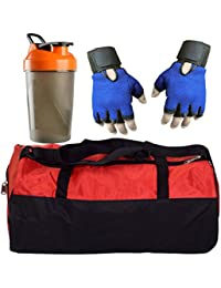 CP Bigbasket Combo Set Polyester Red Sport Gym Duffle Bag Shoe Compartmen, Gym Shaker (400 Ml), Netted Gym & Fitness... - B078BR2Q9L