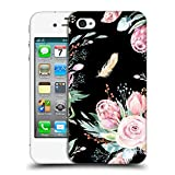 Head Case Designs Offizielle Kristina Kvilis Schwarz Blumige Muster Ruckseite Hülle für iPhone 4 / iPhone 4S