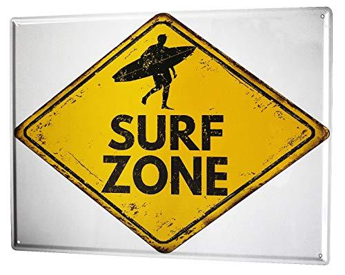Blechschild Nostalgie Surf Zone (Surf-kuchen-dekorationen)