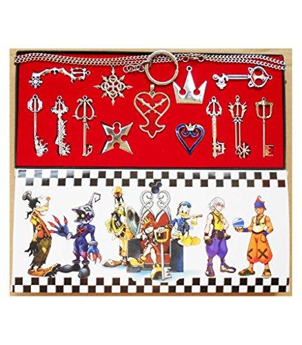 Kingdom Hearts 2 Schlüsselanhänger Halskette Set 13pcs Cosplay Zubehör Silber