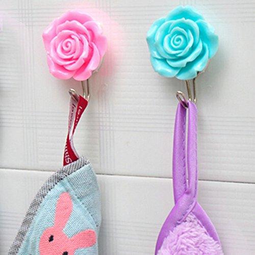 Hand Übung Web (2Creative Home Rose Flower Sticky Haken nach Tür Wand Kleidung Hat Kleiderbügel hooks-random Farbe)