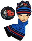 Unbekannt 2 TLG. Set: Mütze + Schal -  Disney Cars / Lightning McQueen  - für Kinder - 2 bis 8 Jahre - Jungen - Schalset / Winterset - Strickmütze - Beanie - Auto mit..