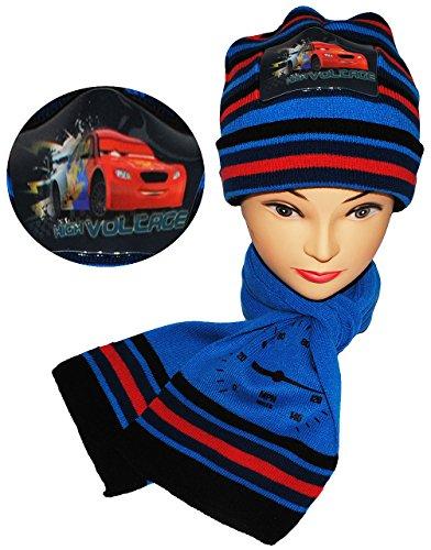 alles-meine.de GmbH 2 TLG. Set: Mütze + Schal -  Disney Cars / Lightning McQueen  - für Kinder - 2 bis 8 Jahre - Jungen - Schalset / Winterset - Strickmütze - Beanie - Auto mit..