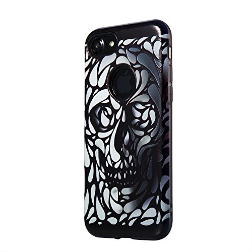 iphone 7 plus Silicone Cover, Custodia per iphone 7 plus Rigida, iphone 7 plus 5.5 pollici 2 in 1 Cover, Ekakashop Ragazza Serie Fashion Moda Sollievo Painting Colorato Pattern 3d Gel Silicone Gomma M Cranio