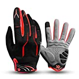 I Kua Fly Vollfinger Fahrradhandschuhe Männer Touchscreen Kompatibel MTB Handschuhe mit Gel für Herren Damen (Rot, XL)