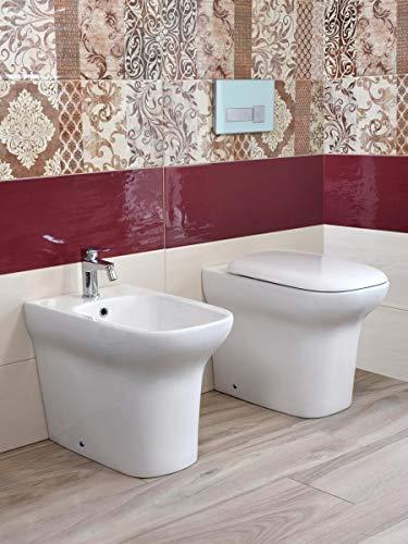 Yellowshop - Sanitari Bagno A Terra Pavimento Filo Muro Mod. Flow Vaso Wc + Bidet E Coprivaso Soft Close