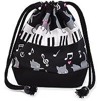 Black Cat Waltz dancing on the (small size) with gusset bag cup piano drawstring Gokigen lunch (black) x Ox black made in Japan N3560300 (japan import) preisvergleich bei kinderzimmerdekopreise.eu