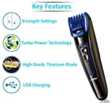 Nova NHT-1071 Titanium Coated USB Trimmer for Men (Black/Blue)