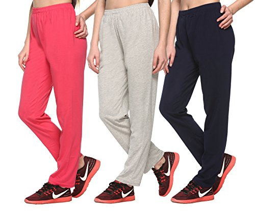 SHAUN Women's Cotton Track Pants (Pack of 3) (667W3_NXP42_Multi-Coloured_Large)