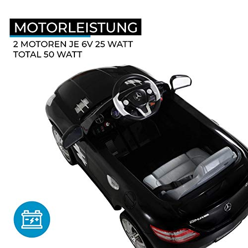 RC Auto kaufen Kinderauto Bild 3: Kinder Elektroauto Mercedes Lizenziert SLS AMG Original Lizenz Kinderauto Kinderfahrzeug Elektro Spielzeug für Kinder (Schwarz)*