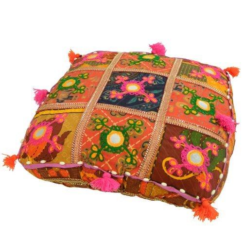 Patchwork-sitzkissen (Indisches Meditationskissen 40x40cm orientalisches Baumwoll-Patchwork Sitzkissen Stoff-Faser)
