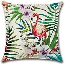 Funda de cojín con diseño de flamencos, hibisco y flores tropicales, para sofá,