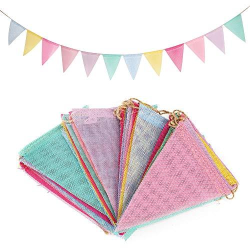 Nahuaa 48pz bandiere triangolari bandierine colorate in stoffa 16.8m 4 stringhe festone striscioni decorazioni per esterno feste compleanno matrimonio battesimo giardino picnic (4.2m/stringa)