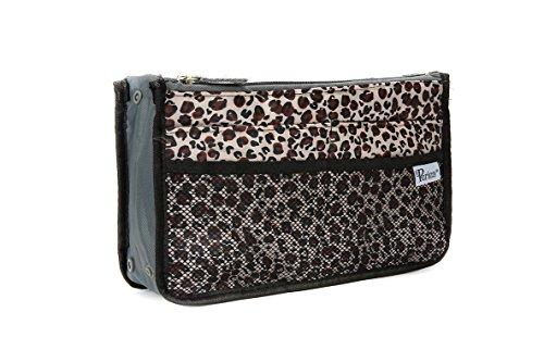 Periea Organizador de Bolsos Bosillo para Cartera 12 Compartimentos - 20 Colores - Chelsy - Pequeña, Medio o Grande (Oro Estampado de Leopardo, Grande)